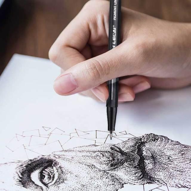 10Pcs/set Pigment Liner Micron Ink Marker Pen 0.05 0.1 0.2 0.3 0.4 0.5 Brush Tip Black Fineliner Sketching Manga Drawing Pen 3