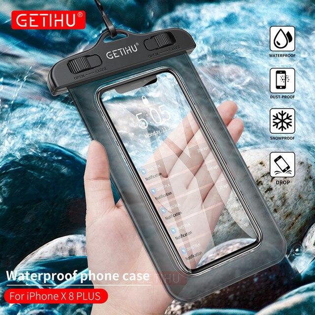 Che phổ Điện Thoại Chống Thấm Nước Trường Hợp Đối Với iPhone X 8 7 6 6 s SE Coque Pouch Túi Trường Hợp Đối Với Samsung galaxy S8 Bơi Trường Hợp Không Thấm Nước