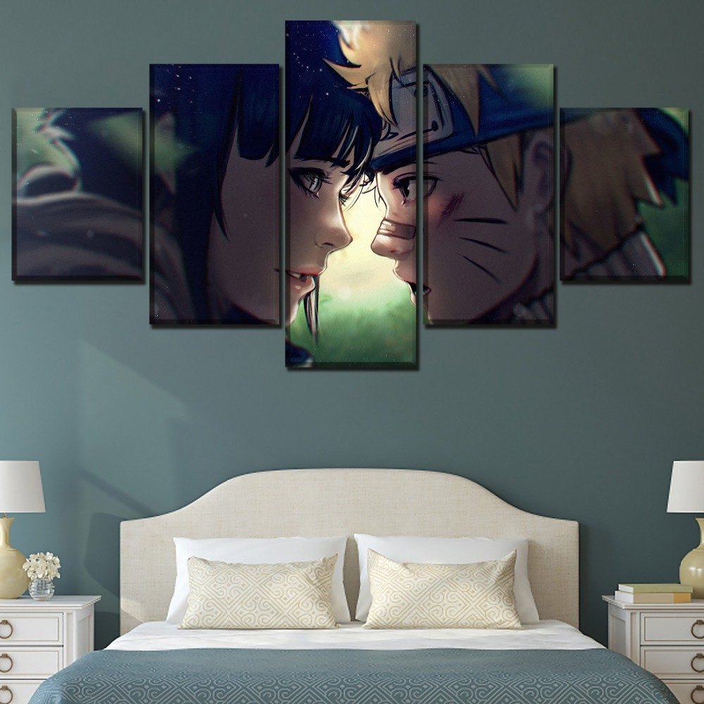 One Set Framework Or Unframed Home Decor Wall Art Canvas Print Painting 5 Panels Anime Naruto Hinata Hyuga Naruto Uzumaki Poster in Painting Calligraphy from Home Garden