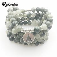 Lubean Green Hair Agate Bracelet 108 Mala Yoga Necklace Natural Stone Jewelry Buddha Meditation Spiritual Gift