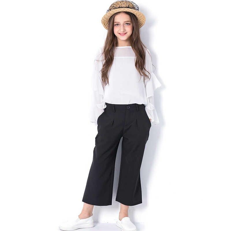 37c80b14772 Teen Girls Pants Sets 3pieces Chiffon Sunscreen Summer New Loose Pants  Chiffon Shirts Fashion Kids Set