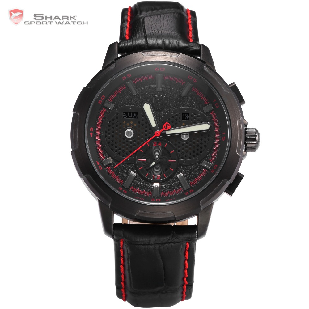 New Fashion Shark Sport Watch Red hands Date Display Fashion Male Clock Black Leather Band Analog 6 Hands Quartz Watch / SH358 new shark sport watch fashion black digital date alarm stopwatch rubber band waterproof male quartz men brand clock sh375