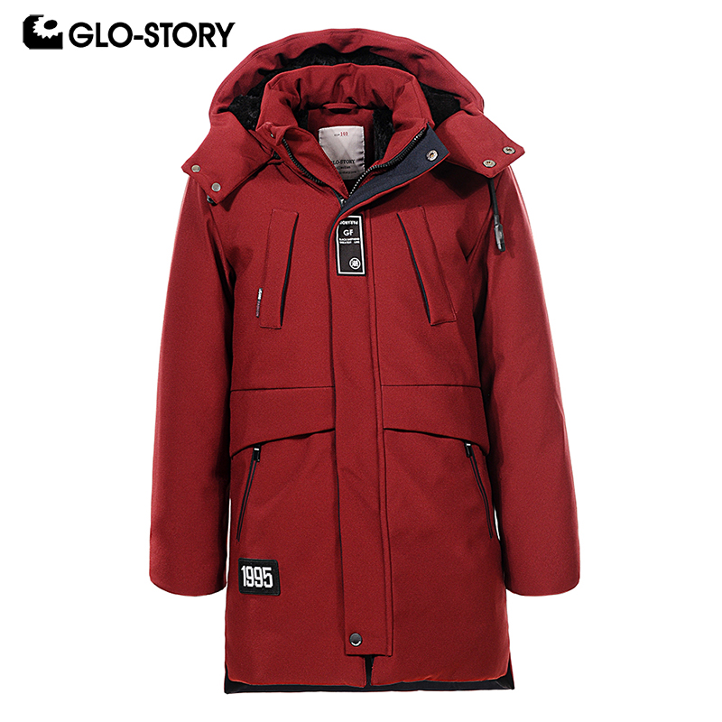 GLO-STORY Children Boys 2018 Outwear Long Hooded Parkas Kids Boy Wool Liner Winter Thick Warm Jackets Coats Clothing BMA-6808 glo story teenage boys winter jackets children boy 2018 casual streetwear patchwork with tape zipper hoodie parkas coats