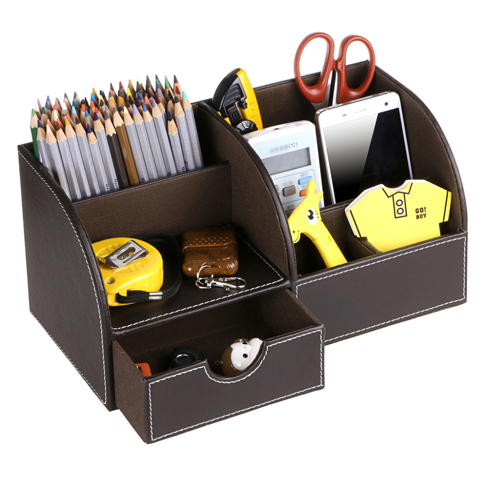 Btsky desk pen pencil holder leather multi function desk stationery btsky desk pen pencil holder leather multi function desk stationery organizer storage box penpencil cell phone business name cards reheart Image collections