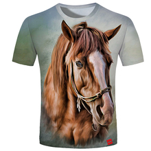 Cloudstyle 2019 Summer 3D Tshirt Men Horse Print Tees Shirt Short Sleeve Tops New Hipster Casual Streetwear Plus Size 5XL