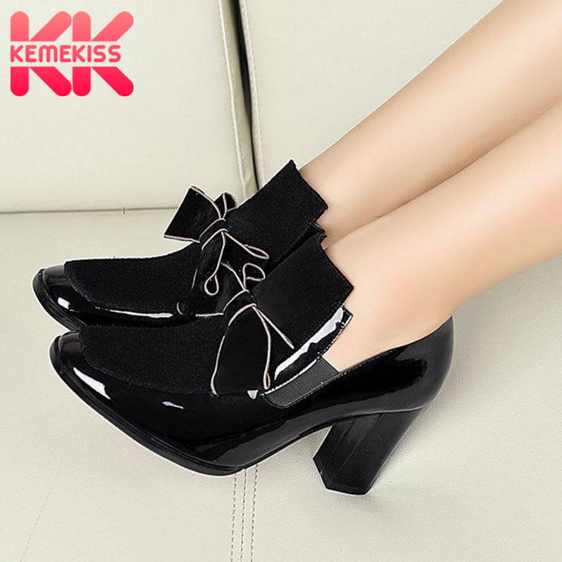 KemeKiss Women Shoes Genuine Leather High Heel Shoes Women Pumps Platform Sexy Bowtie Fashion Party Footwear