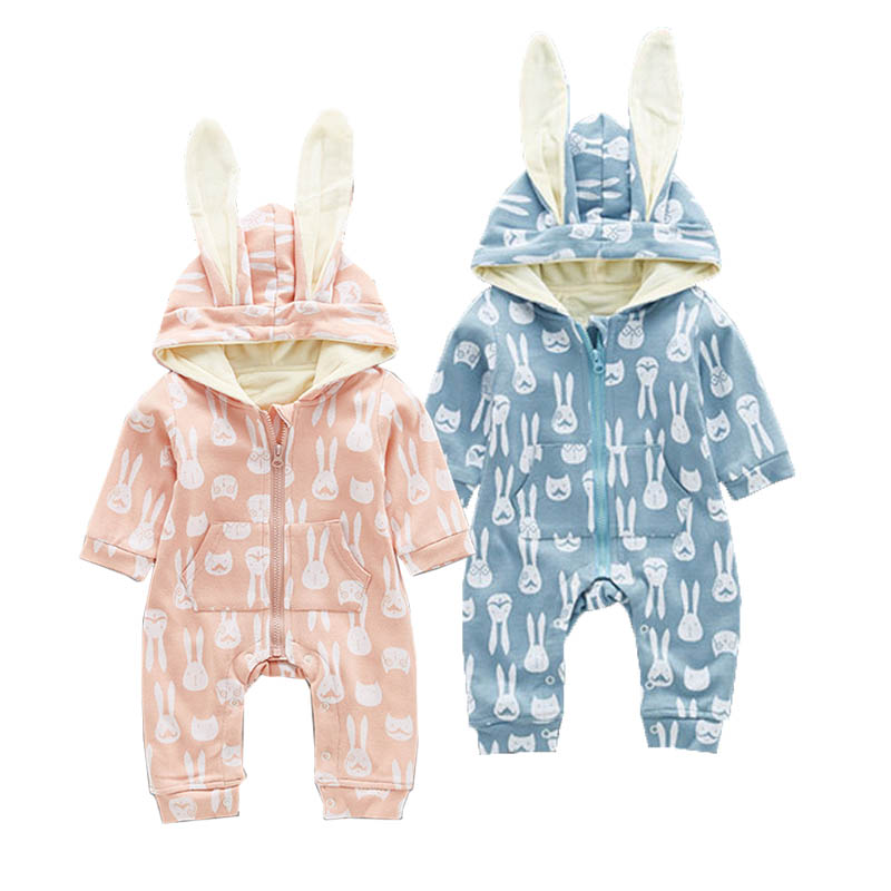 Winter Infant Baby Fleece Rompers Boys Girls Rabbit Shaped Hooded Romper Cute Animal Zipper One-Piece Baby Thicken Jumpsuits