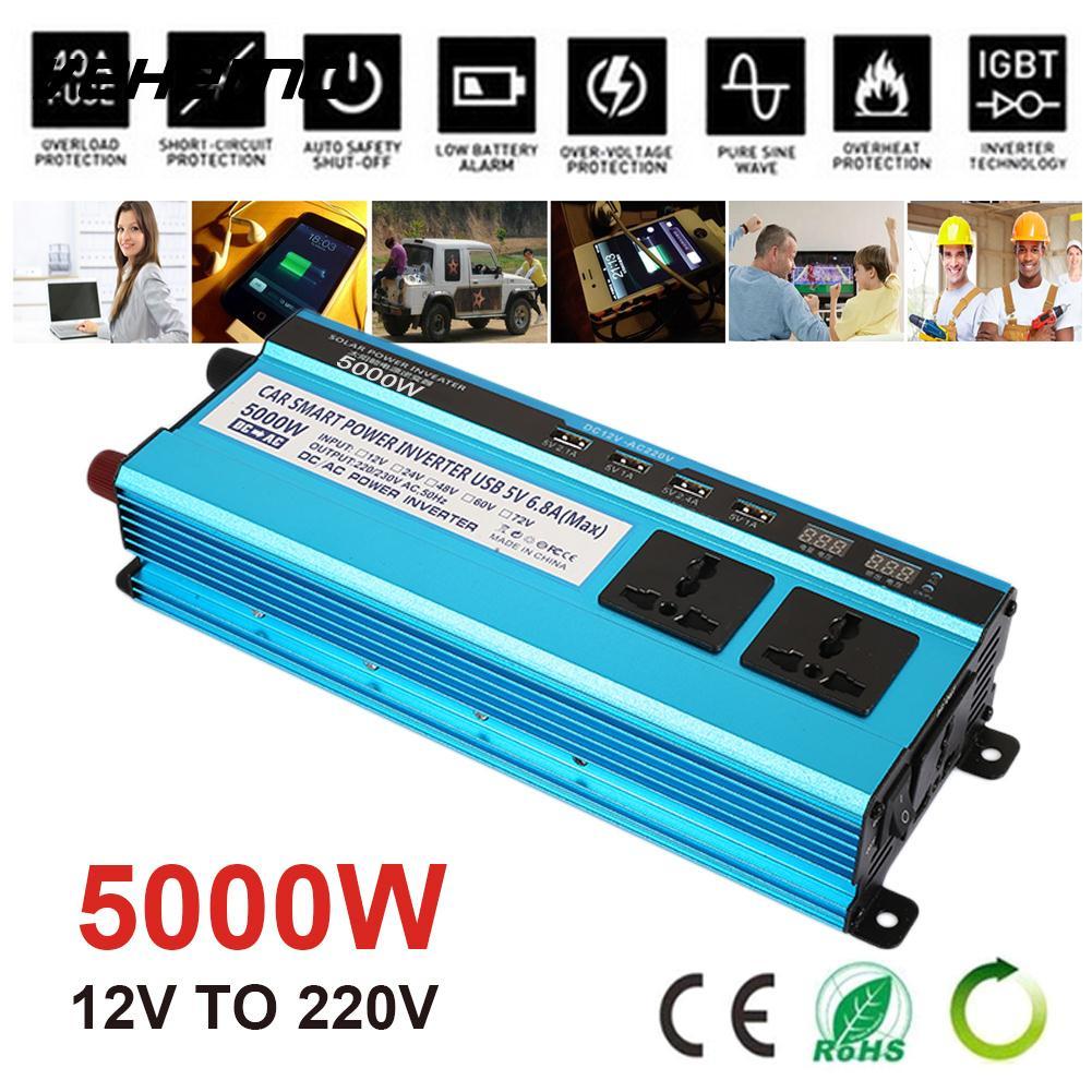 5000 Вт пик DC12V к AC220V автомобильный преобразователь алюминиевый сплав Солнечный Мощность инвертор открытый трансформатор Портативный Зарядн...