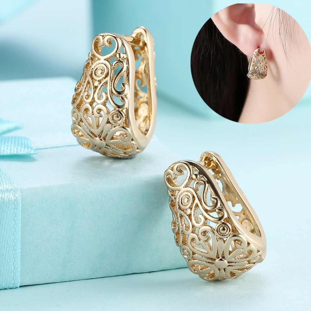 2018 new gold color earrings for women,gold plating hollow heart-shaped earrings,fashion Jewelry casual round hoop earrings