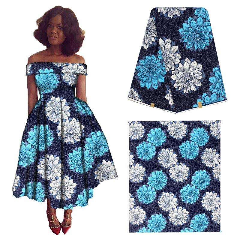 Tela de cera real estilo Flor de Color azul estampado de pagne hollantex cera tissu Africana telas de algodón estampadas a la cera para vestido de fiesta H180709s