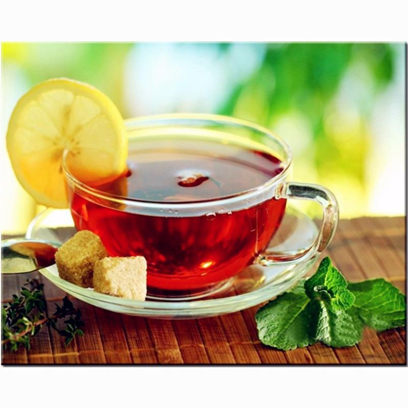 Днем рождения, картинка с надписью чай с лимоном