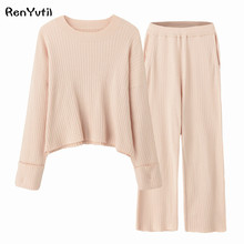 89d29e3630 RenYvtil Japan Knit Wide Pants Warm 2018 Autumn Winter Pajamas Thickening 2  Piece
