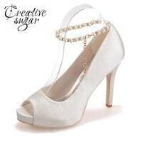 Woman S Satin Peep Toe Platform Shoes High Heel Beading Ankle Strap Platform Wedding Party Prom