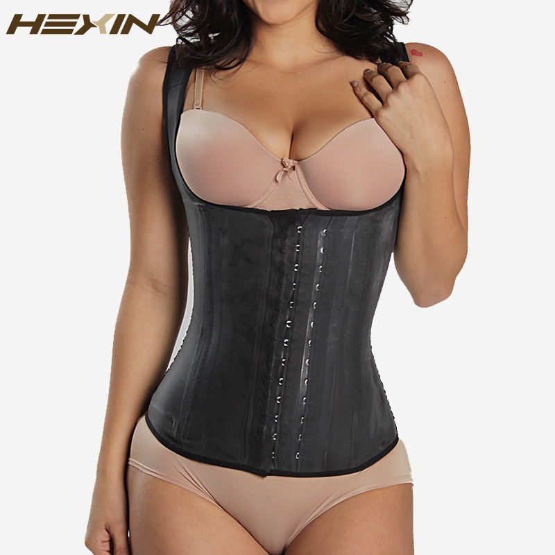 HEXIN Black 4 Rows Hooks Latex Waist Cincher  Body Shaper Steel Bone Corset Slimming Vest Waist Trainer Plus Size Girdle Belt
