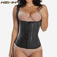 7e8a48988e0 HEXIN Black 4 Rows Hooks Latex Waist Cincher Hot Body Shaper Steel Bone  Corset Slimming Vest