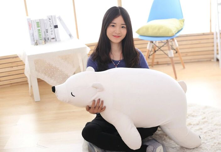 large 110cm white prone polar bear plush toy soft throw pillow birthday gift w0989 large 90cm cartoon pink prone pig plush toy very soft doll throw pillow birthday gift b2097