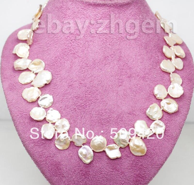 ~~ Gratuit Shippingnatural rose keshi collier de perles strands pierre gemme 17
