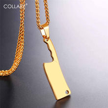 Collare Chef knife Pendant Men Stainless Steel kitchen knife Jewelry Hippie Gold/Black Color Cook Cleaver Necklace Women P114(China)