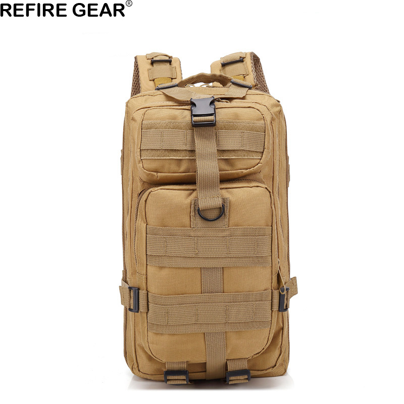 Refire Gear Men Outdoor Tactical Backpack Camouflage Army Green Hiking Knapsack Laptop Bags Waterproof Travel Backpack 30L