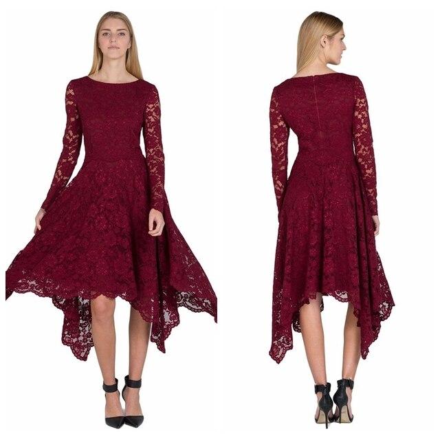93d607536b20 2017 Simple Burgundy Long Sleeves Prom Lace Dresses Simple Elegant Evening Dresses  Lace Party Dresses