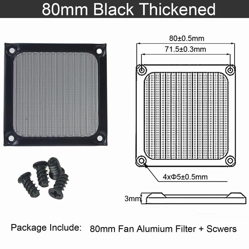 2 шт. Gdstime 60 мм, 80 мм, 92 мм 120 мм 140 мм пылезащищенный вентилятор фильтр Алюминий компьютер чехол сетка вентилятора Пылезащитный чехол 14 см на высоком каблуке 12 см, 9 см, 8 см, 6 м - Цвет лезвия: 8cm thickened Black