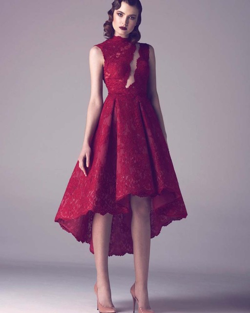 628890793782 Vinho Laço Vermelho Curto Plus Size Vestidos de Cocktail Modest Alta Baixa  Vestido de Festa 2016