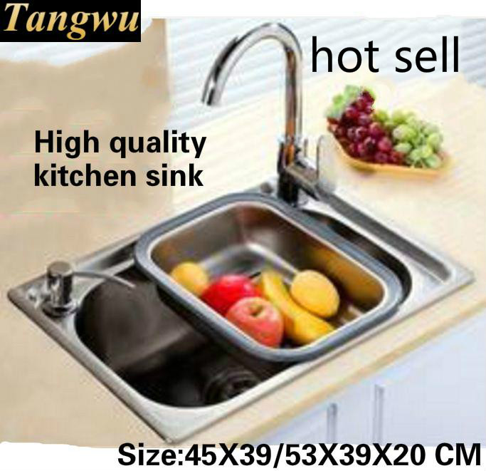 Tangwu Fashion kitchen Food-grade 304 stainless steel water trough the whole stretch small single slot Sink 45X39/53x39x20 CMTangwu Fashion kitchen Food-grade 304 stainless steel water trough the whole stretch small single slot Sink 45X39/53x39x20 CM