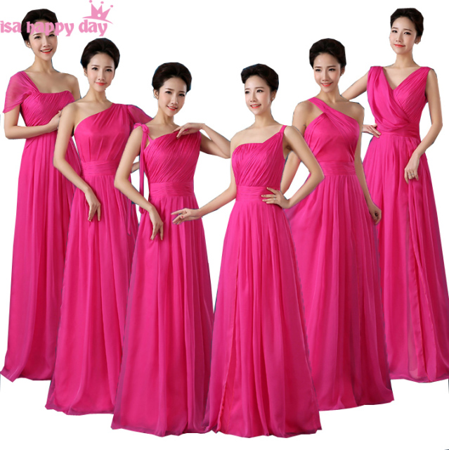 Women Formal Woman One Shoulder Hot Pink Fuchsia Bridesmaid Dresses Elegant Party Dinner Dress Long Robe