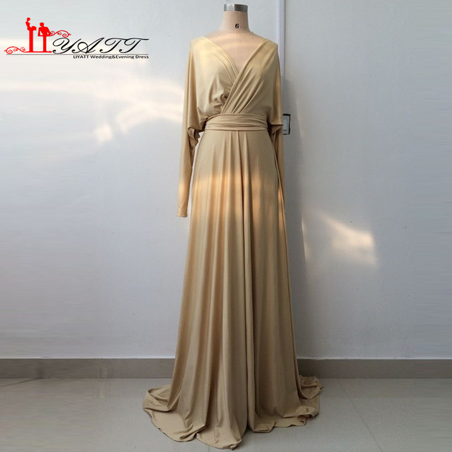 f6304920b229 Cheap Real Picture V-neck Champagne Spandex Long Sleeves Western Coutry  Style Evening Prom Dresses 2016 LIYATT