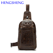Hengsheng hot selling genuine leather men chest bag for fashion single shoulder man chest bags and cow leather men chest packs