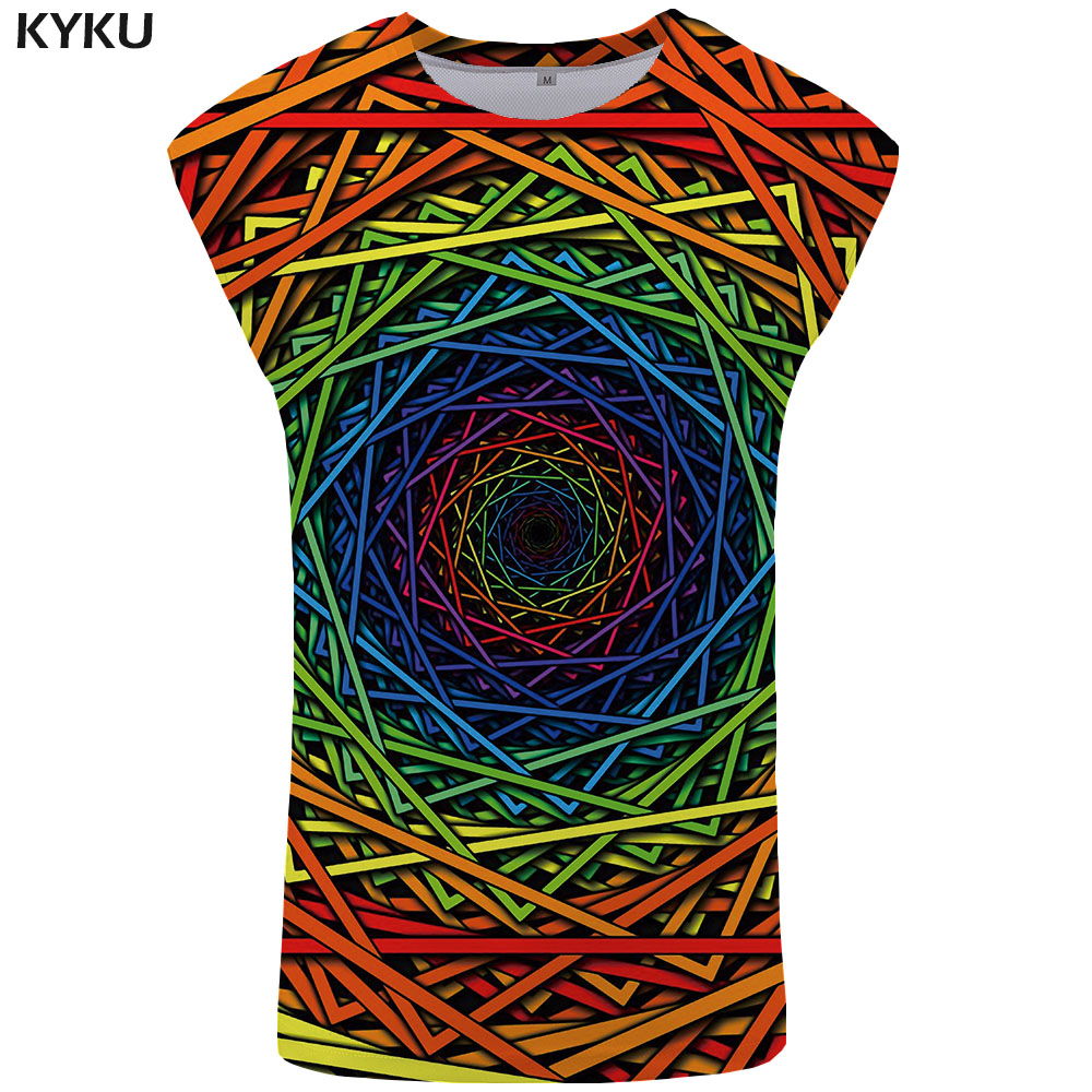 KYKU Brand Psychedelic   Tank     Top   Men Geometric Ftness Clothing Vortex Mens Bodybuilding Dizziness Stringer Colorful Singlet