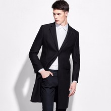 brand clothing single breasted suit jacket men formal black 100% wool single breasted long men blazers and jackets 2015 mens xl