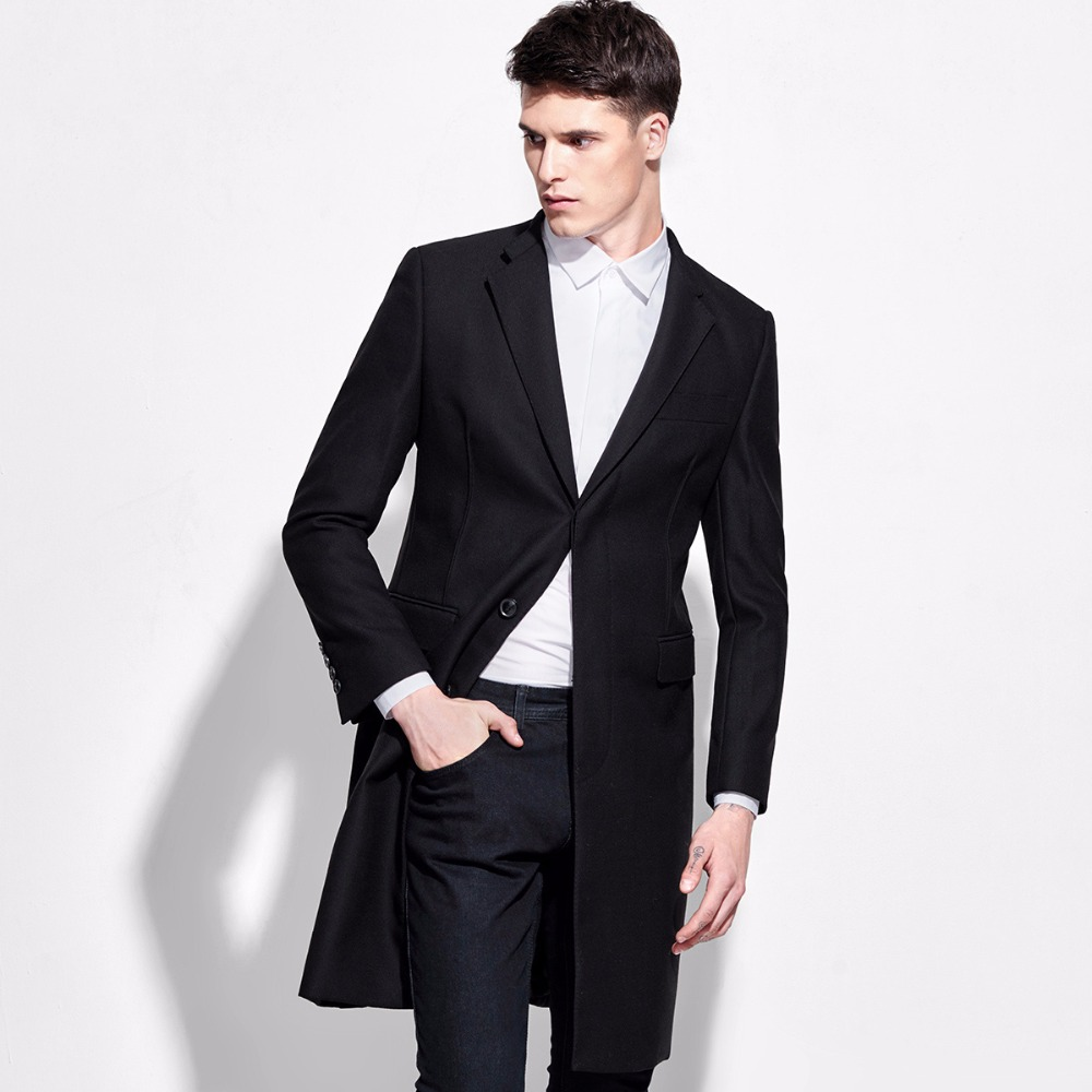 Brand Clothing Single Breasted Suit Jacket Men Formal Black 100% Wool Single Breasted Long Men ...