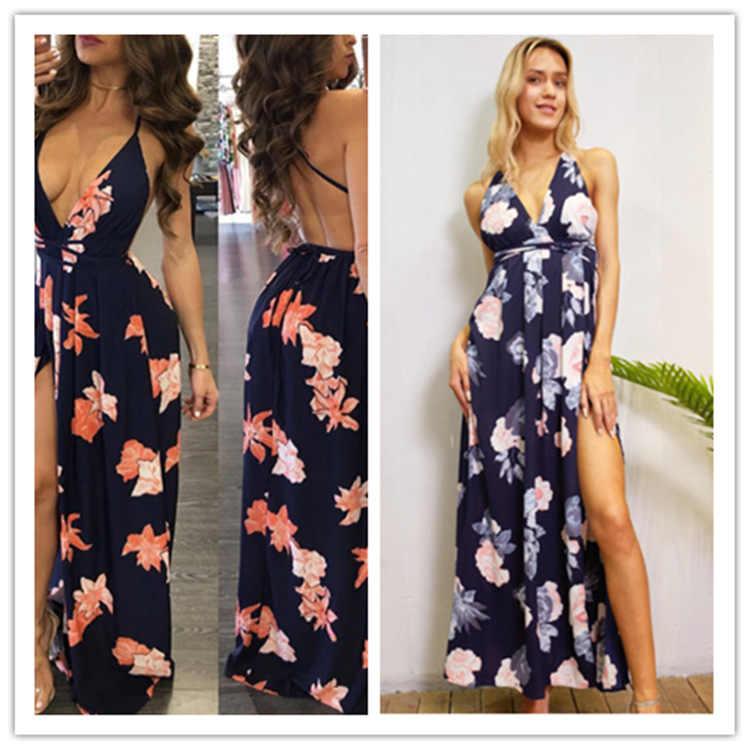 שמלת נשים קיץ 2020 אופנה מזכירת פרחוני סקסי צווארון v ללא משענת פרח הדפסת בוהמי מקסי שמלות Vestidos BLK6238