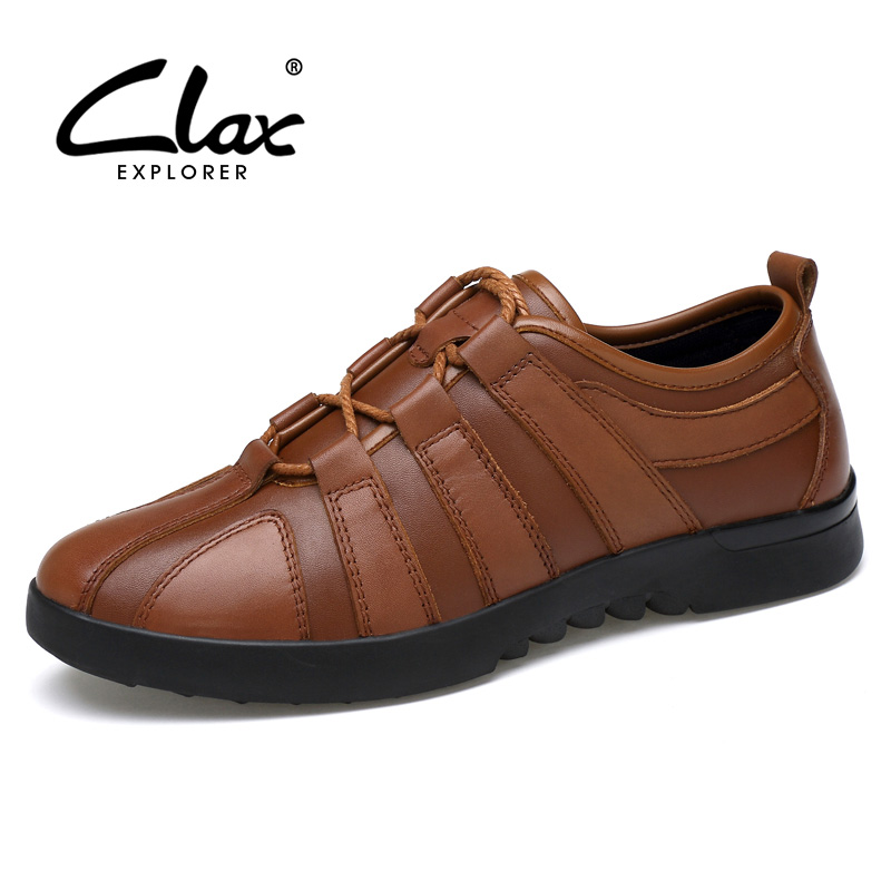 CLAX Men Leather Shoes 2017 Autumn Shoe Genuine Leather Male Casual Footwear Designer Elegant Leisure Shoe Brand men shoes luxury brand loafers 2016 summer men s leisure shoe european designer male leather shoes genuine leather boat shoe