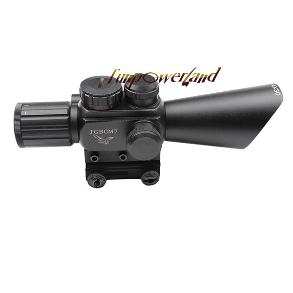 Compact M7 4X30 rifle scope red green Mil-Dot Reticle with side attached red laser sight/Tactical Optics Scopes/Riflescope 3 10x42 red laser m9b tactical rifle scope red green mil dot reticle with side mounted red laser guaranteed 100%