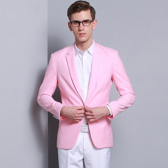 Nueva Moda Para Hombre de Alta Calidad de Color Rosa de La Boda Vestido de Chaqueta de La Chaqueta corea Slim Fit Hombres Hombres Un Traje Botón Casual Blazers Masculino
