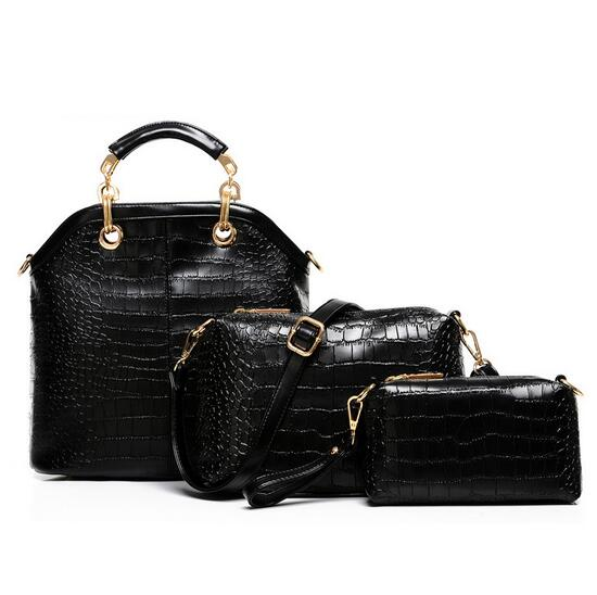 The new female crocodile lines with three packages in the fashion leisure bag PU single shoulder bag polo authentic golf standard packages bag pulley drawbars travel professional lady rod bag standard cue packages nylon with pu