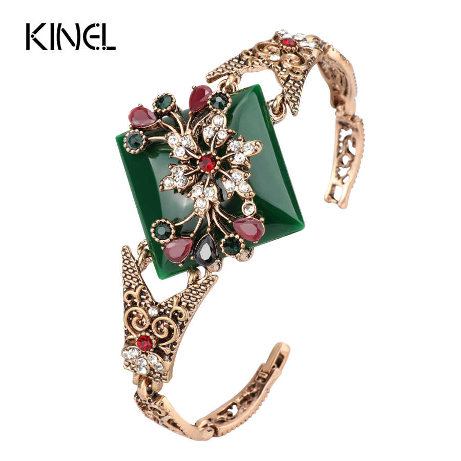 969ce9496e1f Kinel зеленый большой браслет для женщин Винтаж ювелирные изделия античное  золото цвет турецвечерние Вечеринка браслеты бижутерия