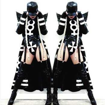 New Sexy Nightclub Clothes Female Girl Black Long Clock Jakcet Bodysuit Dj Singer Costumes Women Hip Hop Jazz Dance Costume - SALE ITEM Novelty & Special Use