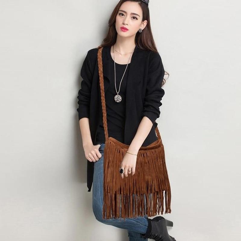 Adisputent Women's Fringed Bucket Purse Tassel Faux Suede Shoulder Bag Shoulder Bag Messenger Across Body Young Fashion Bag