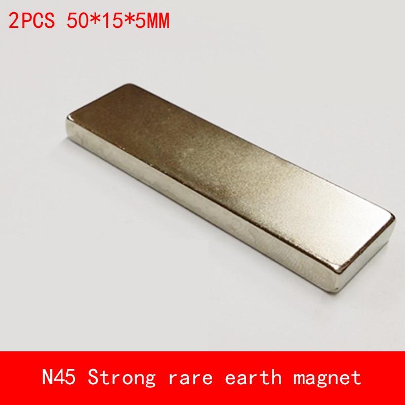 2PCS block 50x15x5mm N45 N52 Super Powerful Strong Rare Earth NdFeB Magnet Neodymium N45 plating Nickel 50*15*5mm earth 2 vol 5