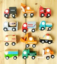 Delivery is free,The truck model , childrens toys, craft decoration 12 pieces, PCS mini trucks, 2 kinds of style ,wooden toy