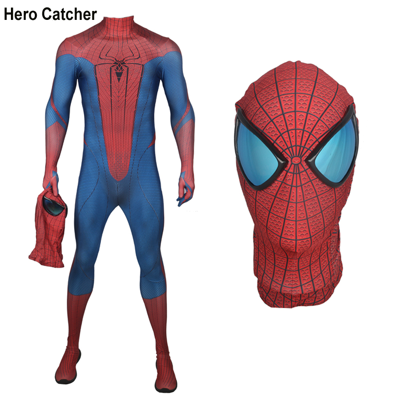 Hero Catcher-4 High Quality Amazing Spiderman Costume With Mirror Lens 3D Print Spider Man Fullbody Suit For Halloween