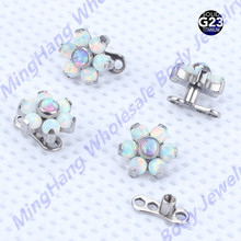 2 teile/los Titan Innerlich Verlegtes Opal Blume Micro Dermal Anchor Schmuck Piercing