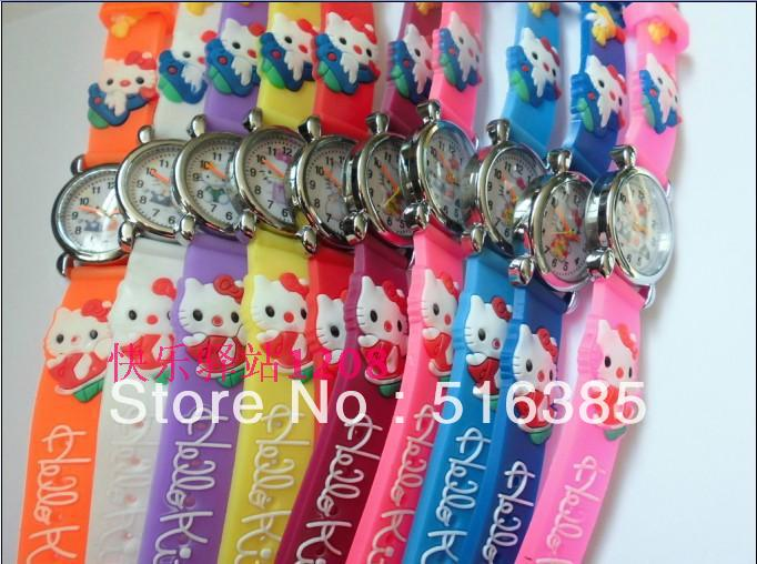 Free & Drop Shipping NEW 10pcs/lot Cute hello kitty Watch,Cartoon Children 3D kids gift недорго, оригинальная цена