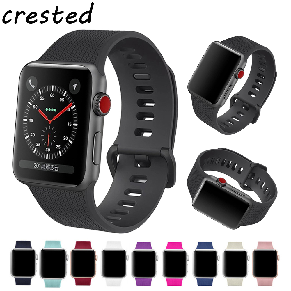 CRESTED Sport silicone watch strap band for Apple watch 3 2 1 42mm 38mm IWatch bracelet wrist belt rubber watchband+metal buckle crested silicone sport strap for apple watch band 38mm 42mm iwatch series 3 2 1 rubber wrist bands bracelet smart watchband belt