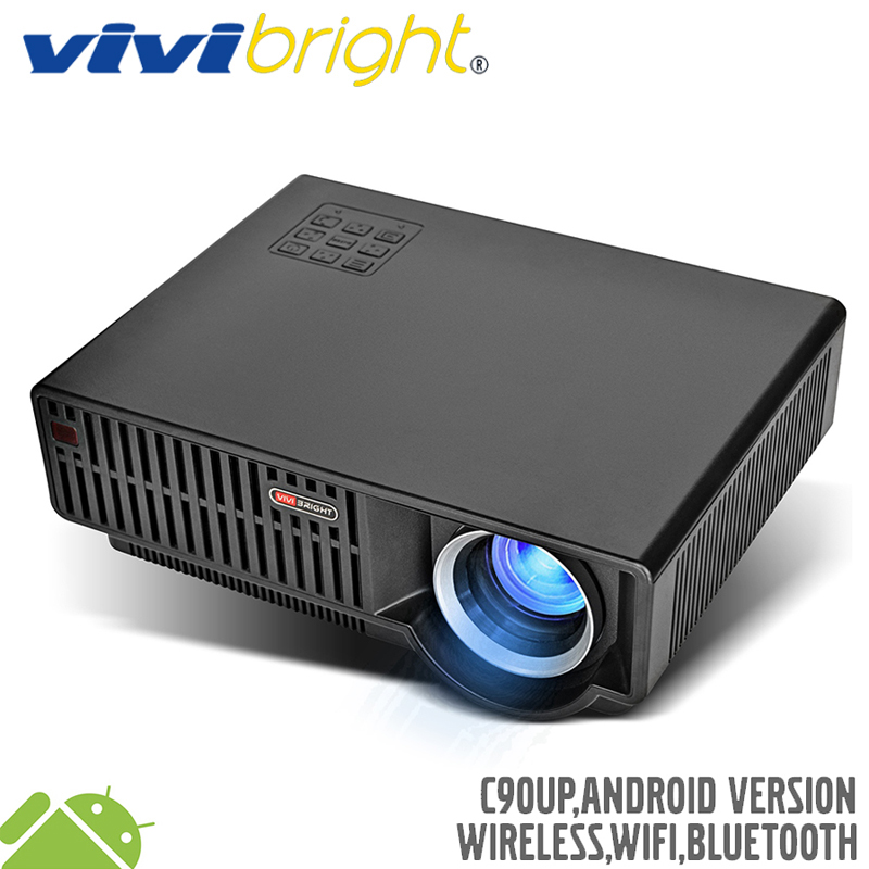 VIVIBRIGHT 5.8 inch LED Projector C90UP. 1280x800 Resolution 3500 Lumens Built-in Android 6.0.1, WIFI Bluetooth, Optional C90