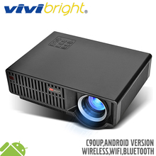 VIVIBRIGHT 5.8 inch LED Projector C90UP. 1280×800 Resolution 3500 Lumens Built-in Android 6.0.1, WIFI Bluetooth, Optional C90
