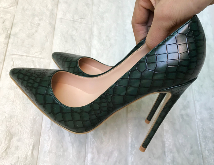 Dark green high heeled shoes, 2018 women, new fine and stone strangles, 12cm annual high heeled shoes, women's 100% single shoes